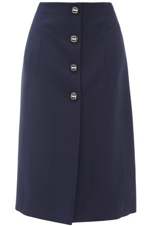 Prada Women Pencil Skirts - Buttoned Wool-twill Suit Skirt - Womens - Navy