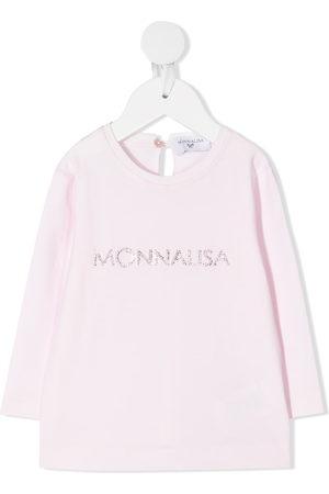 MONNALISA Tops - Rhinestone logo long-sleeved T-shirt