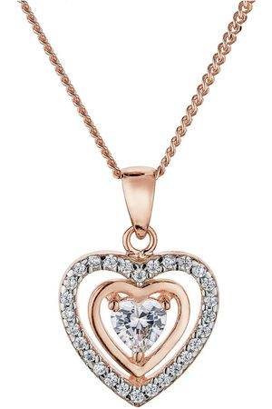 The Love Silver Collection Rose Gold And Rhodium Plated Sterling Silver White Cubic Zirconia Heart Pendant Necklace
