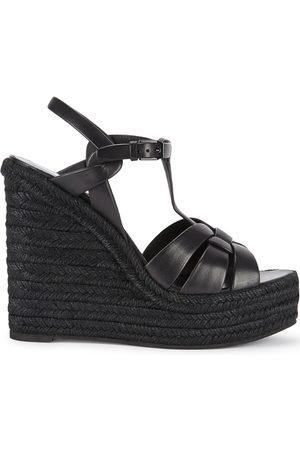 Saint Laurent Tribute 125 Leather Wedge Sandals