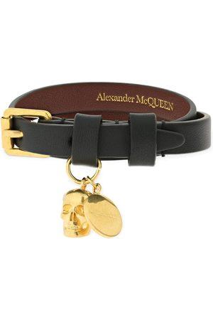 Alexander McQueen Women Bracelets - Double Wrap Leather Bracelet W/ Skull