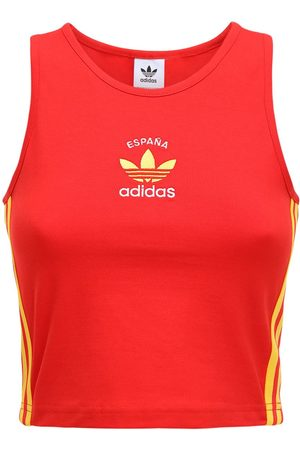 adidas Women Tank Tops - 3-s Italy Stretch Cotton Crop Tank Top