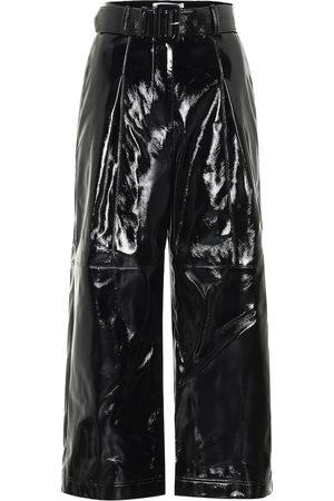 Self-Portrait High-rise faux patent-leather pants