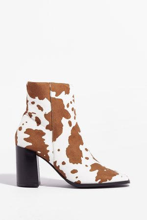 NASTY GAL Women Ankle Boots - Womens How Does It Heel Faux Leather Ankle Boots - - 4