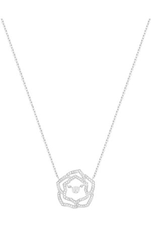 PIAGET White and Diamond Rose Pendant Necklace