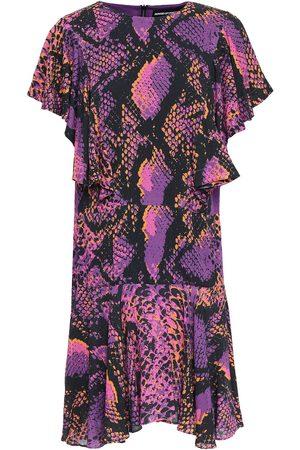 House of Holland Woman Ruffled Snake-print Gauze Mini Dress Violet Size 8