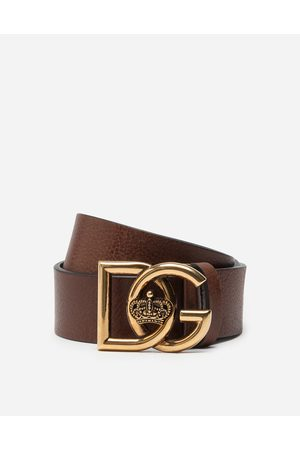 Dolce & Gabbana Collection - TUMBLED LEATHER BELT WITH DG CROSSED LOGO