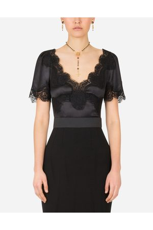 Dolce & Gabbana Shirts and Tops - SATIN TOP WITH LACE DETAILS