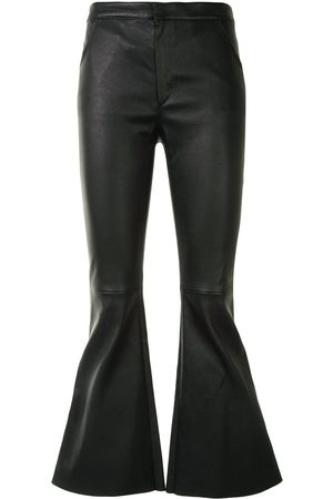 DROME Women Leather Trousers - Bell-flare leather trousers