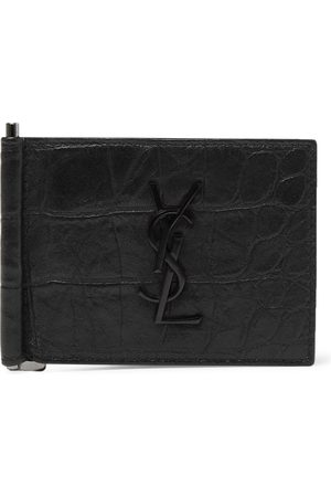 Saint Laurent Logo-Appliquéd Croc-Effect Leather Bifold Cardholder with Money Clip