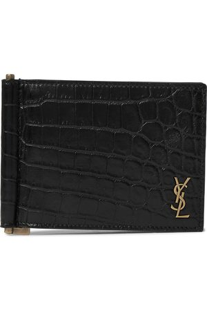 Saint Laurent Men Purses & Wallets - Logo-Appliquéd Croc-Effect Leather Billfold Wallet with Money Clip