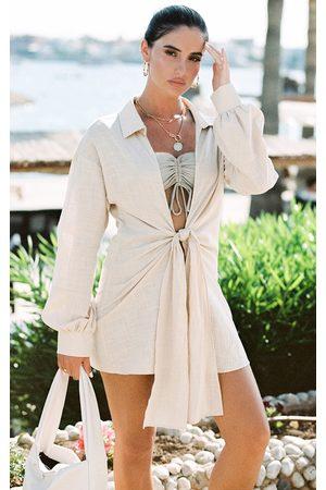 PRETTYLITTLETHING Women Shirts - Sand Tie Front Beach Shirt