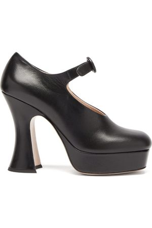 Miu Miu Sculpted-heel Leather Mary Jane Platform Sandals - Womens