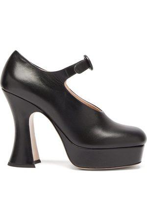 Miu Miu Women Platforms - Curved-heel Leather Platform Mary Jane Pumps - Womens