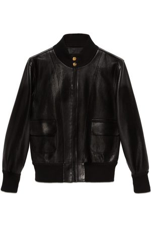 Gucci Men Leather Jackets - Leather bomber jacket