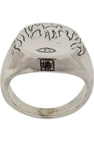 Henson Men Rings - Engraved Flames & Eye ring with ruby