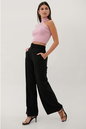 Paola Locatelli x NA-KD Buckle High Waist Suit Pants - Black
