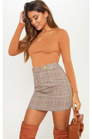 PRETTYLITTLETHING Check Button Detail Mini Skirt