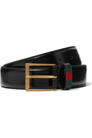adidas 3.5cm Webbing-Trimmed Polished-Leather Belt