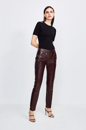 Karen Millen UK & IE Karen Millen Leather Button Detail Trouser, Fig
