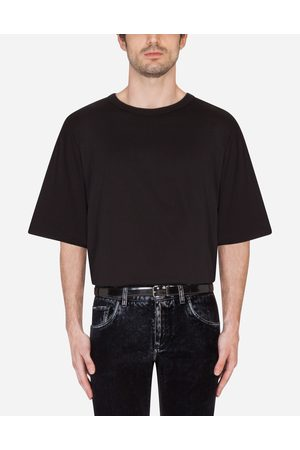 Dolce & Gabbana T-Shirts and Polos - COTTON T-SHIRT WITH RUBBERIZED DG PATCH