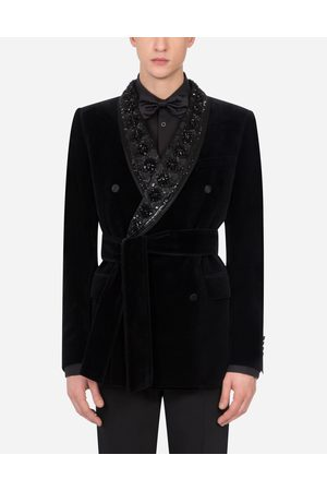 Dolce & Gabbana Coats and Blazers - BELTED VELVET TUXEDO JACKET WITH EMBROIDERY