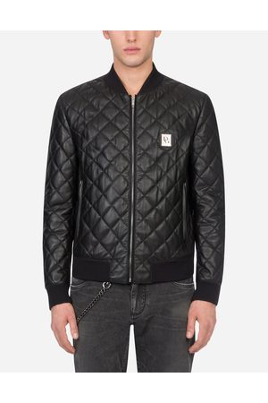Dolce & Gabbana Jackets and Bombers - QUILTED LEATHER JACKET WITH BRANDED PLATE