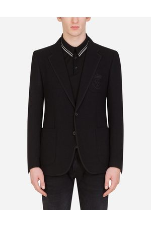 Dolce & Gabbana Coats and Blazers - DECONSTRUCTED STRETCH JERSEY JACKET WITH EMBROIDERY