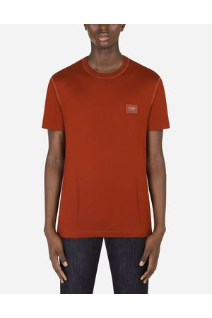 Dolce & Gabbana T-Shirts and Polos - COTTON T-SHIRT WITH LOGOED PLAQUE