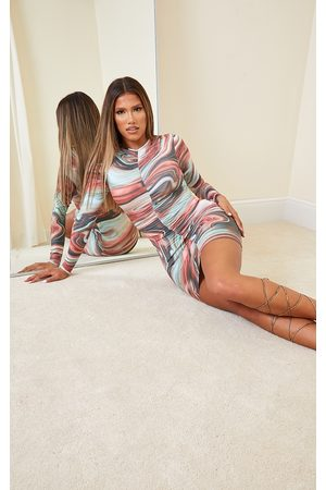 PRETTYLITTLETHING Shape Multi Marble Print Ruched Front Long Sleeve Bodycon Dress