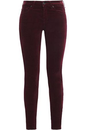 7 for all Mankind Woman The Skinny Cotton-blend Velvet Skinny Pants Burgundy Size 23