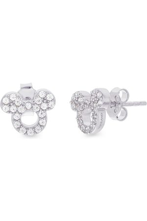 Disney Mickey Mouse Sterling Silver Open Crystal Stud Earrings
