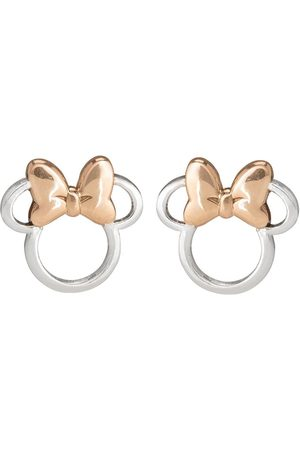 Disney Minnie Mouse Sterling Silver And Rose Gold Bow Stud Earrings