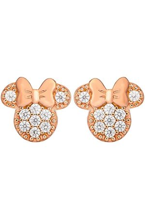 Disney Women Earrings - Minnie Mouse Rose Gold Plated Sterling Silver Crystal Stud Earrings