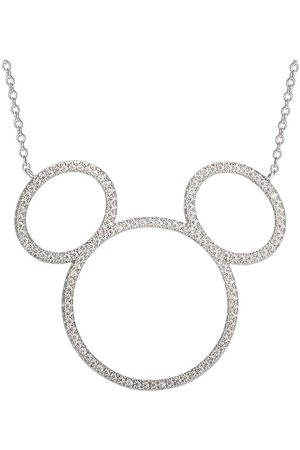 Disney Women Necklaces - Mickey Mouse Sterling Silver Open Crystal Pendant Necklace