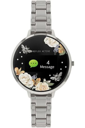 Reflex Active Series 3 Smart Watch With Floral Detail Colour Screen, Crown Navigation And Stainless Steel Bracelet Strap