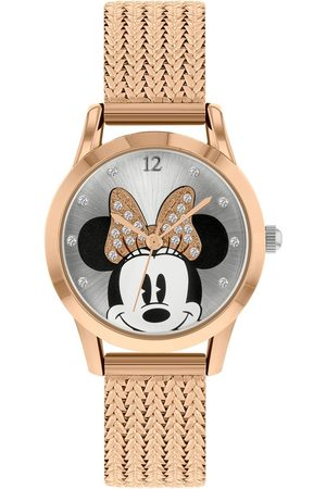 Disney Minnie Mouse Silver And Rose Gold Crystal Set Bow Dial Rose Gold Stainless Steel Mesh Strap Watch