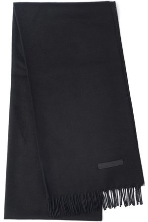 Prada Men Scarves - Logo patch fringed scarf