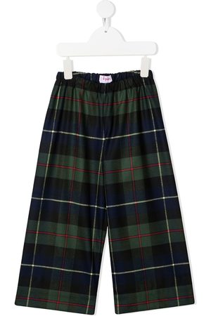 Il Gufo Girls Trousers - Checked wide-leg trousers