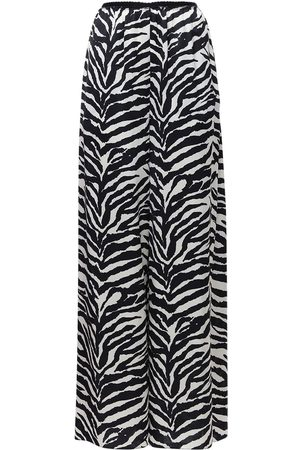 MM6 MAISON MARGIELA Women Wide Leg Trousers - Zebra Print Satin Wide Leg Pants
