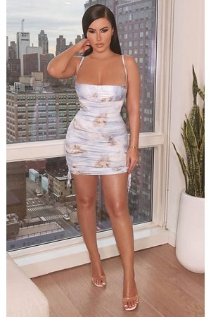PRETTYLITTLETHING Shape Renaissance Print Slinky Ruched Side Bodycon Dress