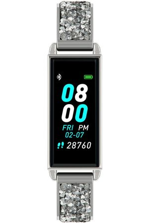 Reflex Active Women Watches - Series 2 Smart Watch With Colour Touch Screen And Silver Crystal Rock Half Bangle Bracelet
