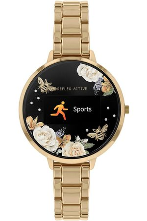 Reflex Active Series 3 Smart Watch With Floral Detail Colour Screen, Crown Navigation And Gold Stainless Steel Bracelet