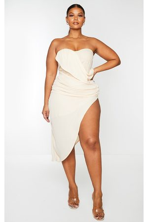 PRETTYLITTLETHING Plus Nude Cup Detail Chiffon Drape Bodycon Dress