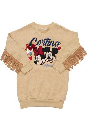 MONNALISA Minnie & Mickey Mouse Lurex Dress