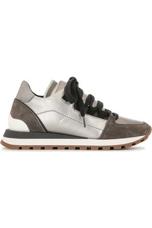 Brunello Cucinelli Women Trainers - Metallic panelled lace-up trainers