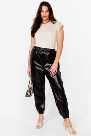 NASTY GAL Women Leather Trousers - Womens All I Faux Leather Wanted Plus Jogger Trousers