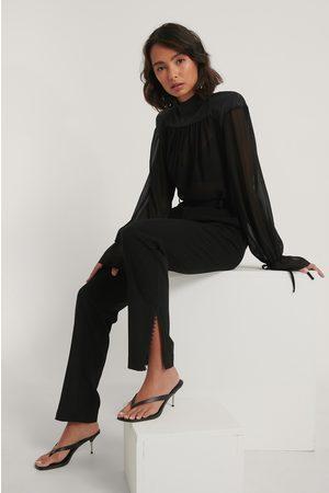 NA-KD Lace Detail Suit Pants - Black