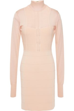 Hervé Léger Women Dresses - Hervé Léger Woman Pointelle-trimmed Burnout-effect Bandage Mini Dress Peach Size L