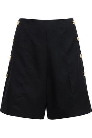 Patou High Waist Wool Shorts W/ Gold Buttons
